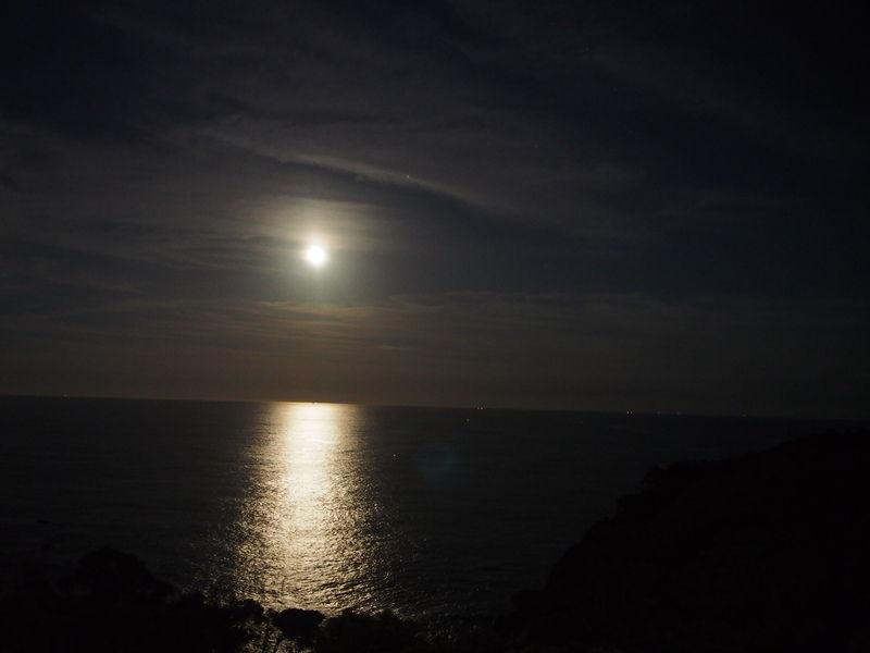 休暇村南紀勝浦から見えるストロベリームーンはこんな感じでした